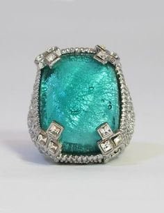 Aqua Green Crystal Ring - Large - Fashion House Amman