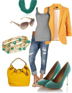 Yellow, teal, and gray with diff shoes would be awesome for work!