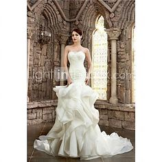 Trumpet/Mermaid Strapless Court Train Wedding Dress (Lace/Organza/Satin) - USD $499.99