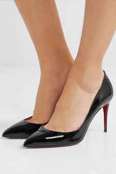 Heel measures approximately 85mm/ 3.5 inches Black patent-leather (Calf) Slip on Made in ItalySmall to size. See Size & Fit notes.