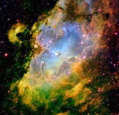 Made famous by the Hubble Space Telescope, the Eagle Nebula is shown in all its glory in this image made at Kitt Peak National Observatory in Arizona. Right in the middle are the dust columns that became known as the Pillars of Creation. Here we see they are just part of a larger hollow shell of star formation, with a young star cluster at its centre. The colours are artificial and represent light given off by glowing hydrogen (green), oxygen (blue) and sulphur (red).