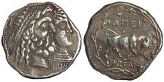 "https://flic.kr/p/dg7dT6 | Sadigh Gallery Ancient Greek Illyrian Silver Coin | Illyrian Silver Epeirote Republic tetradrachm coin. The front with Jugate heads of Zeus Dodonaios, wreathed with oak and Dione. The reverse with a butting bull, all within an oak-wreath.238-168 BC (1"")"