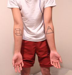 Geometrical tattoo. Would be cooler if they were smaller