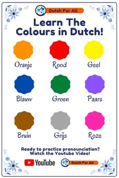 Learn how to say the colours in Dutch! Ready to learn more Dutch?   Studying Dutch can be challenging at times, especially for beginners. Dutch For All is created to help people like you learning Dutch. Through short videos on YouTube, Pins on Pinterest and a word a day on Instagram, you will get to learn the Dutch basics in no-time! Best of all? It is made by volunteers and completely free! You can support us by interacting with us on our platforms! Dutch Language, German Language Learning, Language Study, Learn A New Language, Dutch Phrases, Dutch Words, German Words, Mickey Coloring Pages, Learn Dutch
