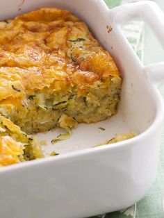 """Zucchini Cornbread Casserole I """"This is a favorite side dish with my family I'm so glad I found it! It's so easy to prepare and it's delish! Zucchini Side Dishes, Vegetable Dishes, Vegetable Recipes, Vegetarian Recipes, Cooking Recipes, Healthy Recipes, Vegan Meals, Healthy Eats, Yummy Recipes"""