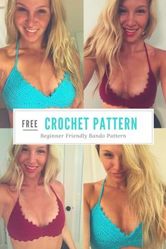 Free crochet bando top pattern from www taylor lynn com Crochet Halter Tops, Motif Bikini Crochet, Crochet Bathing Suits, Bikinis Crochet, Crochet Summer Tops, Diy Crochet Swimsuit, Crochet Diy, Mode Crochet, Crochet Gratis