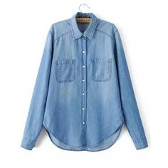 Yoins Yoins Denim Shirt (£15) ❤ liked on Polyvore featuring tops, blue, shirts & tops, blue top, ripped denim shirt, distressed tops, ripped tops and loose fit tops