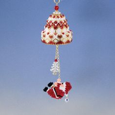 Christmas hanging santa claus bell, peyote pattern