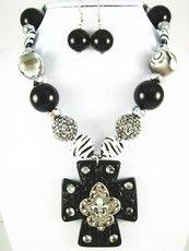 Black Chunky FDL Cross Zebra Necklace Set