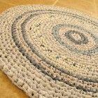 "Blue rag rug, crochet, round, cottage, country, eco, recycle, 28""."