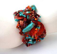Beadwork bracelet, Freeform Peyote Beaded Cuff, Turquoise Brown Bracelet, Beaded Cuff Bracelet