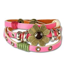 SilberDream-leather-bracelet-pink-with-rivets-and-a-flower-for-female-teens-and-girls-genuine-leather-LA2913P