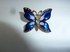 Vintage Enamel Blue Butterfly Brooch