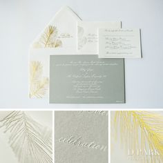 Silver grey white gold wedding letterpress invitation designed by Wiley Valentine  Photographed by D Park Photography