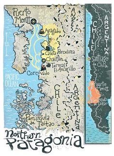 Dushan Milic - Patagonia map, Chile