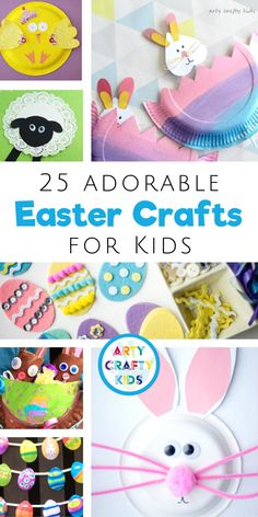 Looking for super cute Easter crafts for kids to make at home or at preschool / in the classroom? Check out this list of 25 adorable fun easy Easter crafts for children. Plus get other Easter crafts for kids ideas videos templates here! Easter Arts And Crafts, Easter Activities For Kids, Holiday Crafts For Kids, Bunny Crafts, Crafts For Kids To Make, Art For Kids, Kids Crafts, Crafty Kids, Toddler Crafts