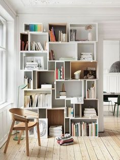 Awesome shelving for living room.