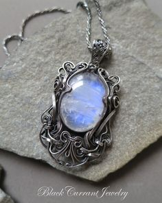 Moonstone Sterling Silver Victorian Pendant by blackcurrantjewelry