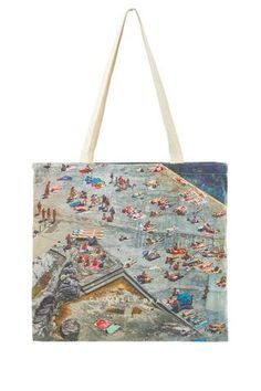 Pizza Food Slice New York Save The Animals Nature Quirky Illustration Pattern Woven Canvas Shopper Tote Recycled Bag Shopping Gym Books Beac