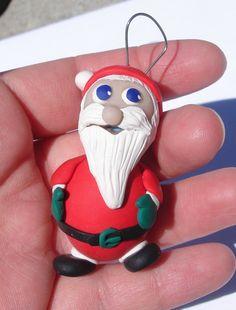 Santa Christmas Ornament Handmade in Polymer Clay by MagicByLeah, $17.00