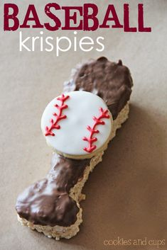 Baseball krispie treats! How cute to give for the end of the game goodie bag!!