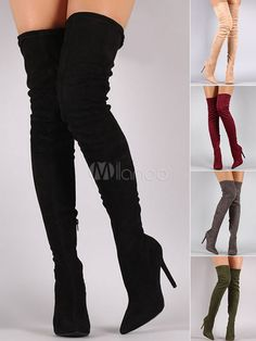 dcfc8219d32 Tight High Boots 2019 Over Knee High Heel Boots Black Women Suede Boots