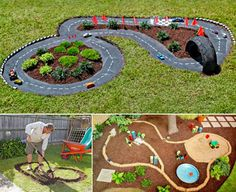 back patio Wonderful DIY Easy Kids Garden Games Kinder-Hinterhof-Race-Car-Track-wonderfuldiy Kids Outdoor Play, Kids Play Area, Backyard For Kids, Backyard Projects, Outdoor Fun, Projects For Kids, Diy For Kids, Project Ideas, Garden Kids