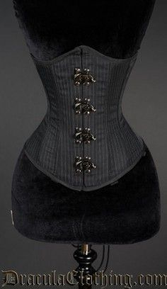 Pointed Pinstripe Clasp Corset #corset #underbust #pinstripe #goth #gothic http://draculaclothing.com/index.php/pointed-pinstripe-clasp-corset.html