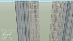 Large preview of 3D Model of Cortina de shantung prata e renda branca