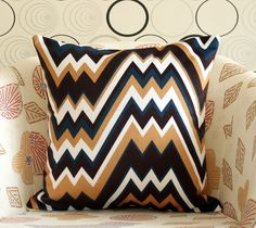Retro Chevron geometric style pillow case zigzag by bayanhippohome