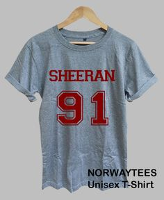 SHEERAN 91 Logo Shirt Number Printed on Sport Gray T by Norwaytees