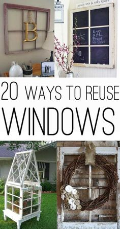 Got some old windows? Here are 20 great ideas to put them to good use with a collection of 20 ways to use old windows! Got some old windows? Here are 20 great ideas to put them to good use with a collection of 20 ways to use old windows! Old Window Frames, Window Art, Window Panes, Old Window Decor, Upcycled Crafts, Diy And Crafts, Diy Projects To Try, Craft Projects, Craft Ideas