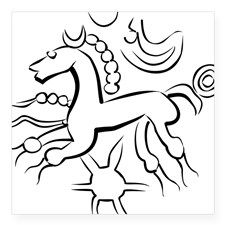"""Late Iron Age horse on coin Square Sticker 3"""" x 3"""""""