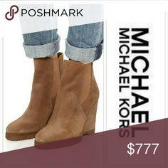 💋HOST PICK💋🚨Michael Kors wedge bootie ASK FOR FREE SHIPING  NEW!  Grab these comfortable Michael Kors wedge booties. Lovely suede leather, stretch paneling make silhouette easy to slip on and off.  Heel: 4.5 inch  Leather upper. Leather lining. Lightly padded footbed. Stacked wedge heel. Synthetic outsole Size 6.5,9,and 9.5 available No box Price is firm NO TRADES Michael Kors Shoes Ankle Boots & Booties