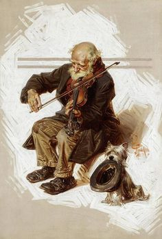 The Violinist and His Assistant (JC Leyendecker). This work is a Saturday Evening Post, December 1916 cover illustration. Traditional Paintings, Traditional Art, American Illustration, Illustration Art, Jc Leyendecker, Figure Painting, Russian Painting, Belle Photo, Art History
