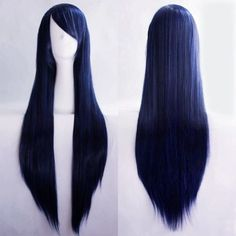 Full Long Straight Wigs Fancy Dress Cosplay Costume Ladies Wig Party S Frontal Hairstyles, Wig Hairstyles, Straight Hairstyles, Cosplay Costume, Anime Cosplay, Hinata, Harajuku, Blue Wig, Anime Wigs