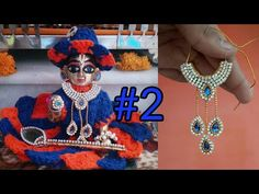 Make necklace for laddu gopal by using stonechains Flower Crafts, Diy Flowers, Laddu Gopal Dresses, Bal Gopal, Ladoo Gopal, Krishna Painting, Peacock Design, Thread Jewellery, How To Make Earrings