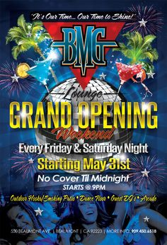BMG Lounge Grand Opening flyer