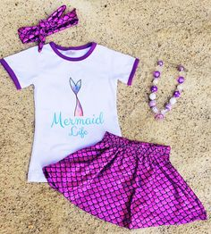 "Purple ""Mermaid Life"" Skirt Set #boutique-outfits #new #newborn-clothing…"