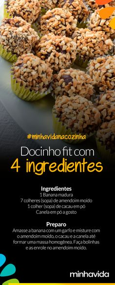 - Docinho fit crudívoro: com apenas 4 ingredientes Crudivore fit sweetie: with only 4 ingredients Easy and ready in about 10 minutes. Healthy Recepies, Heart Healthy Recipes, Healthy Sweets, Healthy Cooking, Healthy Eating, Nutrition, Vegan Foods, Light Recipes, Going Vegan
