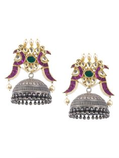 Buy Multicolor Ethno Jadau Work Silver Jhumkis Glass Pearl Jewelry Earrings The Golden Gate Traditional Online at Jaypore.com