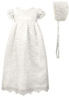 0bd8b2e94b Scalloped Lace Christening Gown   Bonnet