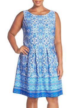 Gabby Skye Border Print Sleeveless Scuba Fit & Flare Dress (Plus Size)