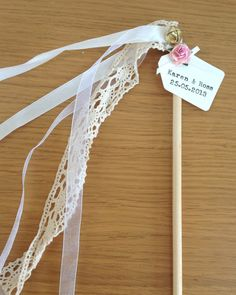 Personalised Vintage Chic Wedding Wands 6 by VeryVintageBoutiques Wedding Send Off, Church Wedding, Wedding Day, Wedding Ribbon Wands, Pearl And Lace, Ceremony Decorations, Wedding Planning, Etsy, Crochet Lace