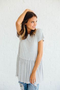 Striped Peplum in Grey – cladandcloth