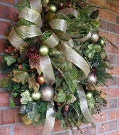 Christmas wreath in Gold and greens, double ribbon, shinny ivy, gold Christmas ornaments