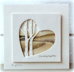 birch tree diecut + heart diecut; try with blues or violets for winter scene, greens for spring