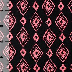 Coral Hand Drawn Diamonds on Black Cotton Spandex Blend Knit Fabric