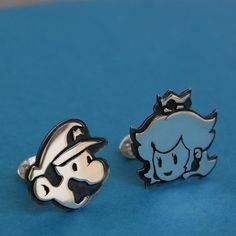 Cufflinks - Sterling Silver Mario and Princess Peach on Etsy.