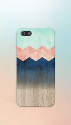 Coral x Mint x Blue x Wood Chevrons Design Case for iPhone 6 6 Plus iPhone 5 5s 5c 4 4s Samsung Galaxy s6 s5 s4 & s3 and Note 5 4 3 2